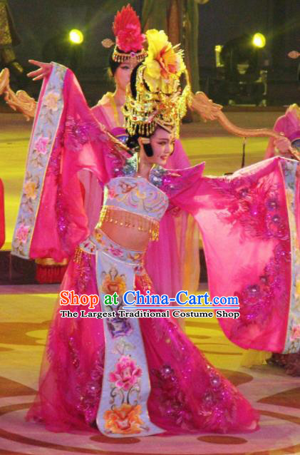 Chinese Chang An Impression Ancient Tang Dynasty Queen Dance Pink Dress Stage Performance Costume and Headpiece for Women