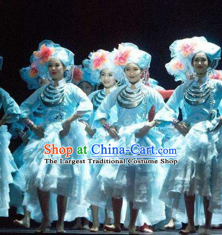 Chinese The Ship Legend of Huashan Zhuang Nationality Dance Dress Stage Performance Costume and Headpiece for Women