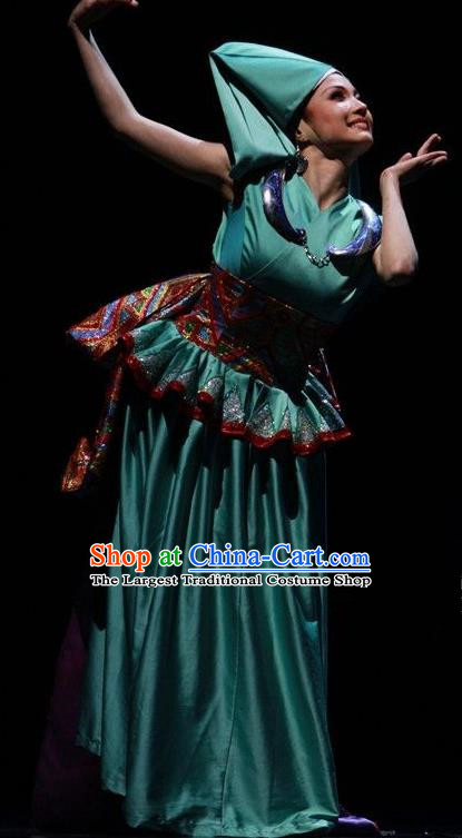 Chinese The Ship Legend of Huashan Zhuang Nationality Dance Green Dress Stage Performance Costume and Headpiece for Women