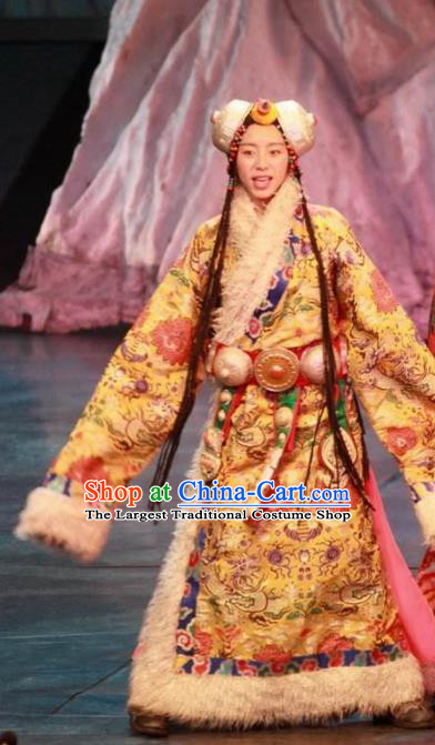 Chinese Impression Tibetan Zang Nationality Dance Dress Stage Performance Costume and Headpiece for Women