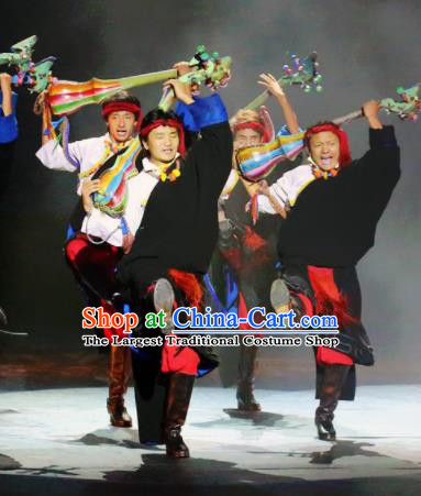 Chinese Impression Tibetan Zang Nationality Black Clothing Stage Performance Dance Costume for Men