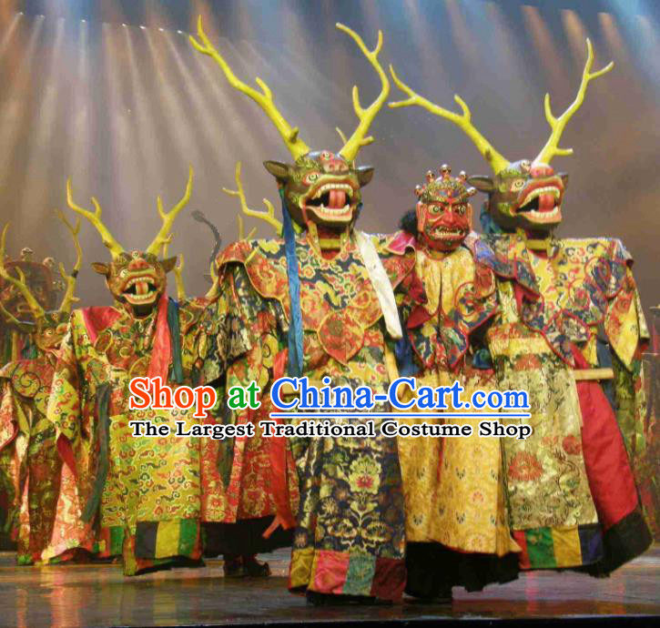 Chinese Impression Tibetan Zang Nationality Clothing Stage Performance Folk Dance Costume for Men