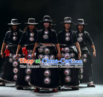 Chinese Impression Tibetan Zang Nationality Black Robe Stage Performance Folk Dance Costume for Men