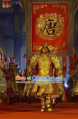 Chinese Chang An Impression Ancient Tang Dynasty General Golden Armor Stage Performance Costume for Men