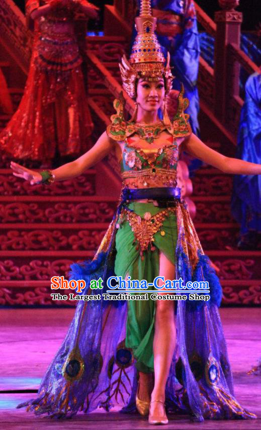 Chinese Back to Song Dynasty Ethnic Dance Green Dress Stage Performance Costume and Headpiece for Women