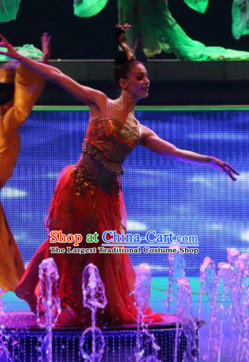 Chinese Back to Song Dynasty Classical Dance Red Dress Stage Performance Costume and Headpiece for Women