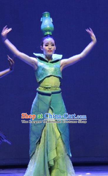 Chinese Back to Song Dynasty Classical Vase Dance Green Dress Stage Performance Costume for Women