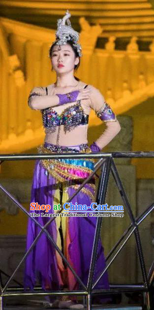 Chinese Peoformance In Panshan Mountain Classical Dance Purple Dress Stage Performance Costume and Headpiece for Women