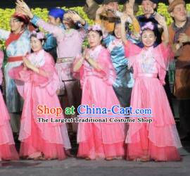 Chinese Dreaming In Hometown Classical Dance Pink Dress Stage Performance Costume and Headpiece for Women