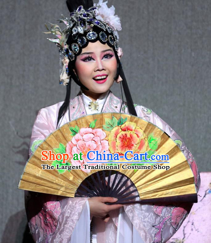 Chinese Magic Ganpo Impression Peking Opera Dance Pink Dress Stage Performance Costume and Headpiece for Women