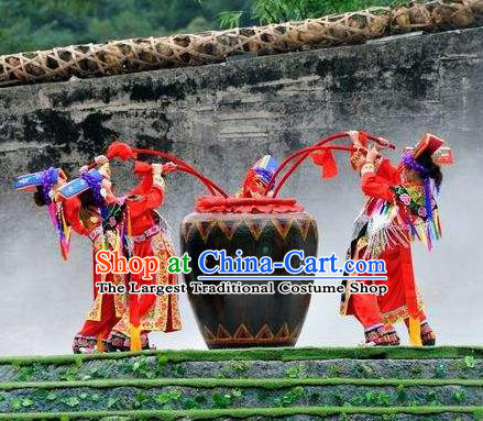 Chinese Road Solutions Dujiangyan Ethnic Dance Red Dress Stage Performance Costume and Headpiece for Women