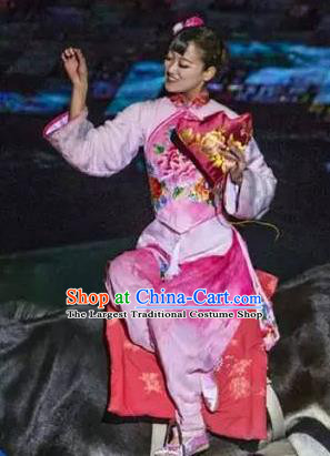 Chinese Sutras In The Golden Hill Classical Dance Pink Dress Stage Performance Costume and Headpiece for Women