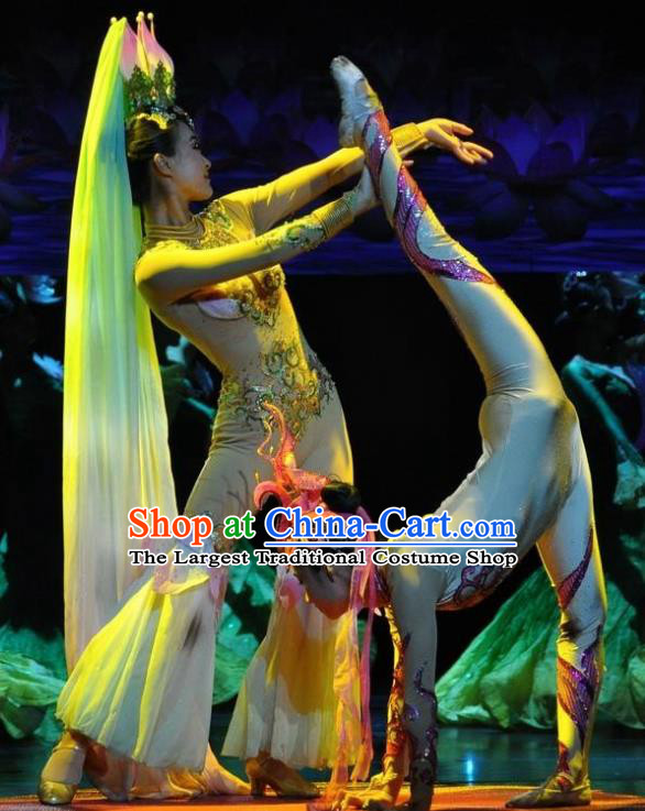 Chinese Jinxiu Shenzhou Classical Dance Lotus Dance Dress Stage Performance Costume and Headpiece for Women