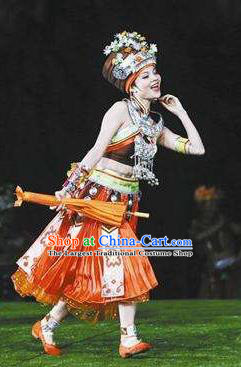 Chinese Dragon Boat Song Tujia Nationality Ethnic Dance Dress Stage Performance Costume and Headpiece for Women