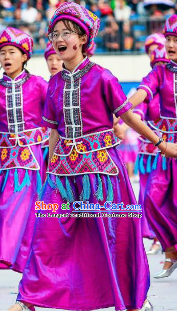 Chinese Dragon Boat Song Tujia Nationality Ethnic Dance Purple Dress Stage Performance Costume and Headpiece for Women