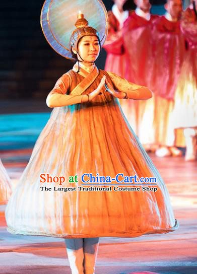 Chinese the Porcelain Tower Ceremony Classical Dance Dress Stage Performance Costume and Headpiece for Women