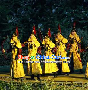 Chinese Kangxi Ceremony Qin Dynasty General Body Armor Stage Performance Dance Costume for Men