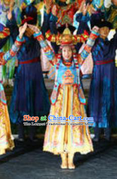 Chinese Kangxi Ceremony Qing Dynasty Mongol Nationality Dance Dress Stage Performance Costume for Women