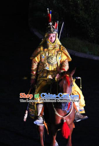 Chinese Kangxi Ceremony Qin Dynasty Emperor Xuanye Body Armor Stage Performance Costume for Men