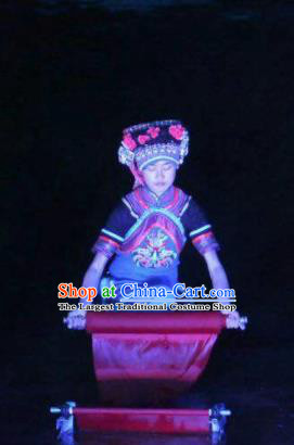 Chinese Dushan Ceremony Bouyei Nationality Dance Dress Stage Performance Costume for Women