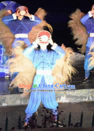 Chinese Dushan Ceremony Bouyei Nationality Dance Stage Performance Blue Costume for Men
