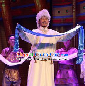 Chinese Impression of Going East To Native Land Mongol Nationality Torghut King Stage Performance Folk Dance Costume for Men
