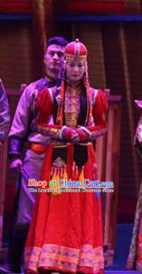Chinese Impression of Going East To Native Land Mongol Nationality Torghut Bride Red Dress Stage Performance Costume for Women