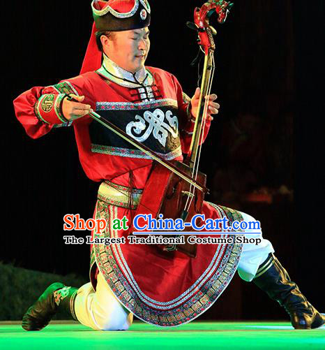Chinese Impression of Going East To Native Land Mongol Nationality Stage Performance Folk Dance Red Costume for Men