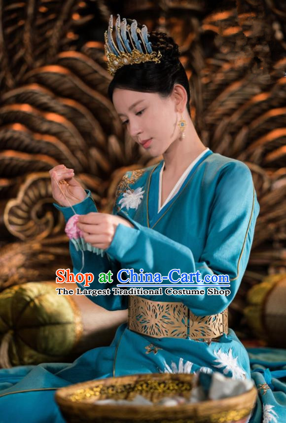 Drama Ever Night Ancient Chinese Queen Blue Dress Traditional Tang Dynasty Empress Costumes for Women