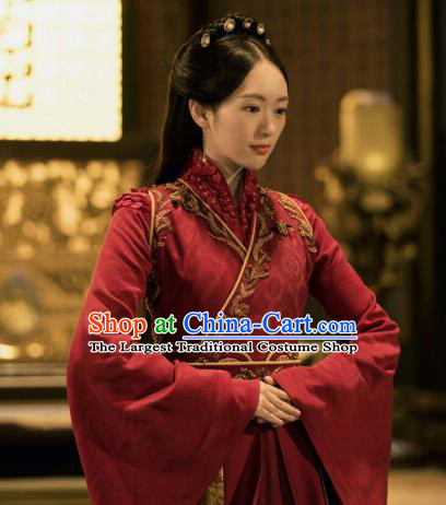 Drama Ever Night Ancient Chinese Royal Princess Red Dress Traditional Tang Dynasty Infanta Costumes for Women