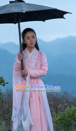 Drama Ever Night Ancient Chinese Maidservant Pink Dress Traditional Tang Dynasty Female Swordsman Costumes for Women