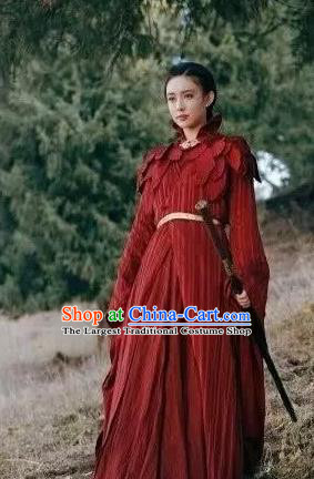Drama Ever Night Chinese Ancient Female Assassin Ye Hongyu Red Hanfu Dress Traditional Tang Dynasty Swordsman Costumes for Women