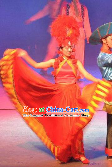 Chinese Impression of Lijiang Naxi Nationality Bride Ethnic Dance Red Dress Stage Performance Costume and Headpiece for Women
