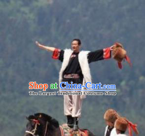 Chinese Impression of Lijiang Naxi Nationality Ethnic Dance Stage Performance Costume for Men