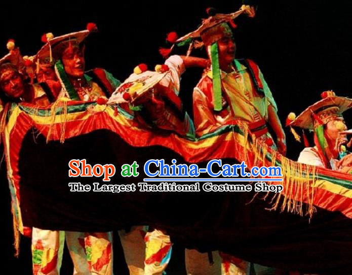 Chinese Impression of Lijiang Naxi Nationality Ethnic Ceremony Dance Stage Performance Costume for Men