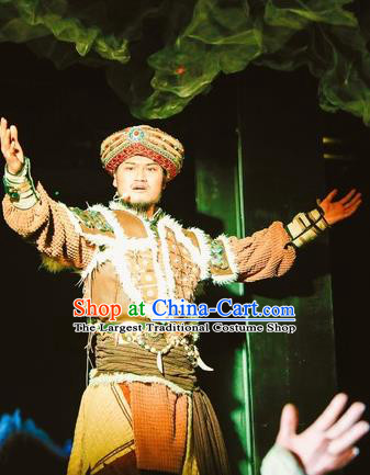 Chinese Encounter Lijiang Zhuang Ethnic King Dance Clothing Stage Performance Costume for Men