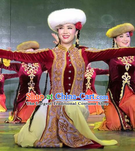 Chinese Silk Road Uyghur Nationality Dance Red Dress Ethnic Stage Performance Costume for Women