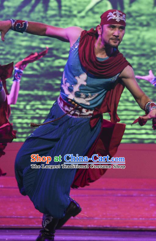 Chinese Silk Road Uyghur Nationality Dance Blue Clothing Ethnic Stage Performance Costume for Men