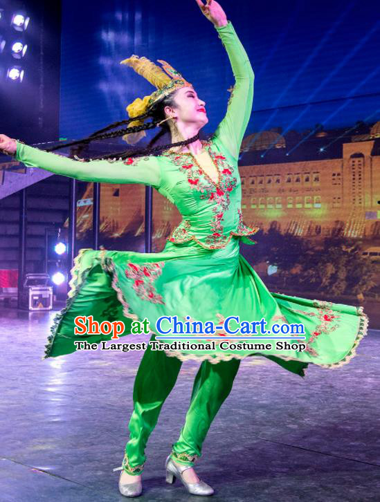 Chinese Silk Road Mongol Nationality Dance Green Dress Ethnic Stage Performance Costume for Women