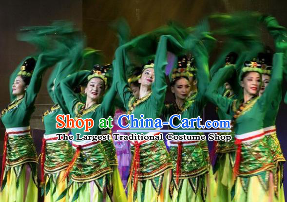 Chinese Silk Road Classical Dance Green Dress Ethnic Stage Performance Costume for Women