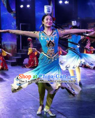 Chinese Silk Road Mongol Nationality Dance Blue Dress Ethnic Stage Performance Costume for Women