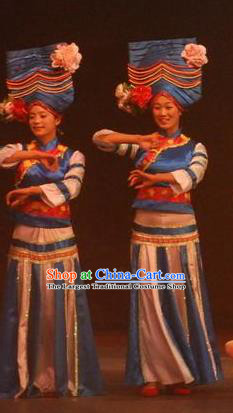 Chinese Lishui Jinsha Yi Nationality Dance Blue Dress Ethnic Stage Performance Costume and Headpiece for Women