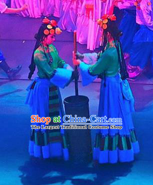 Chinese Lishui Jinsha Zang Nationality Dance Dress Ethnic Stage Performance Costume and Headpiece for Women