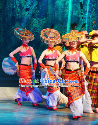 Chinese Lishui Jinsha Dai Nationality Dance Red Dress Ethnic Stage Performance Costume and Headpiece for Women