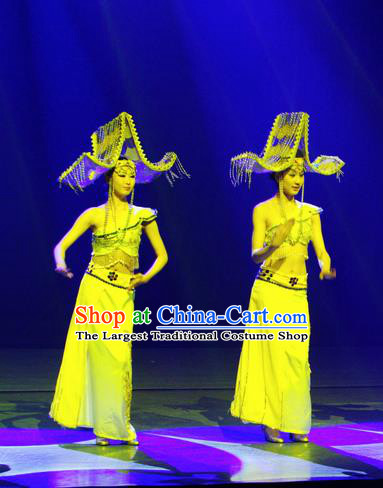 Chinese Lishui Jinsha Dai Nationality Dance Yellow Dress Ethnic Stage Performance Costume and Headpiece for Women