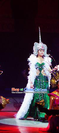 Chinese Lishui Jinsha Dai Nationality Dance Green Dress Ethnic Wedding Stage Performance Costume and Headpiece for Women