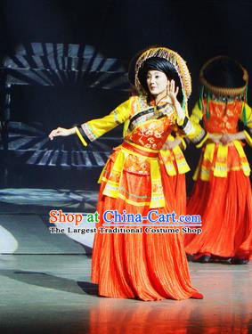 Chinese Lishui Jinsha Bai Nationality Dance Red Dress Ethnic Wedding Stage Performance Costume and Headpiece for Women