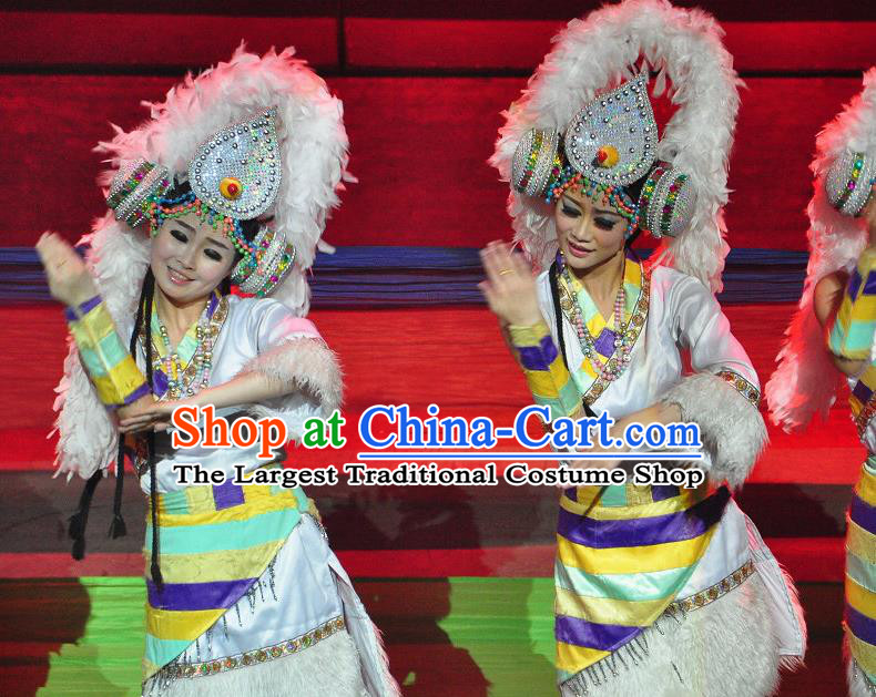 Chinese Lishui Jinsha Zang Nationality Dance White Dress Ethnic Stage Performance Costume and Headpiece for Women