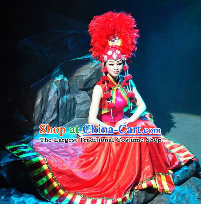 Chinese Lishui Jinsha Yi Nationality Dance Red Dress Ethnic Wedding Stage Performance Costume and Headpiece for Women