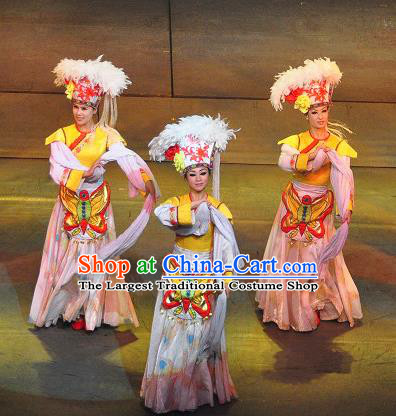 Chinese Lishui Jinsha Bai Nationality Dance Dress Ethnic Wedding Stage Performance Costume and Headpiece for Women